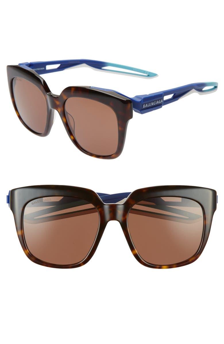 BALENCIAGA 54mm Square Sunglasses, Main, color, SHINY DARK HAVANA/ BROWN