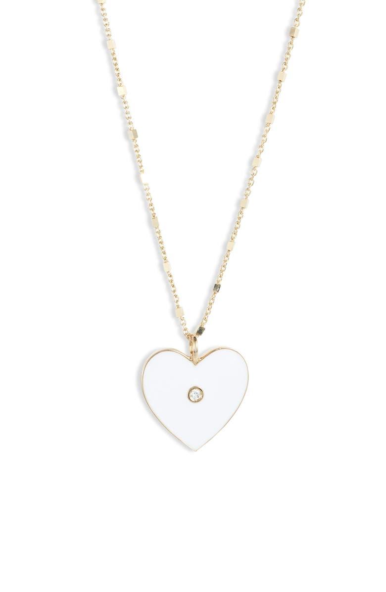 JENNIFER ZEUNER Fifi Diamond Heart Pendant Necklace, Main, color, GOLD VERMEIL- WHITE