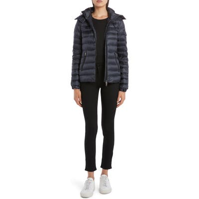 Moncler Bleu Hooded Lightweight Down Jacket, (fits like 2-4 US) - Blue