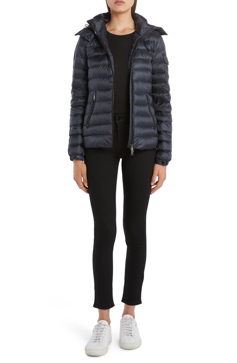 Bleu Hooded Lightweight Down Jacket by Moncler