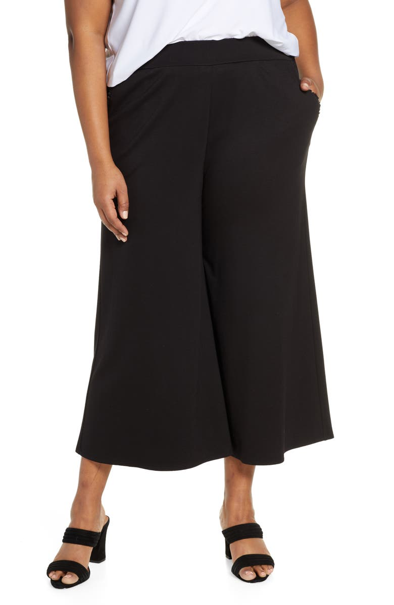 GIBSON x Living in Yellow Wide Leg Crop Pants, Main, color, BLACK