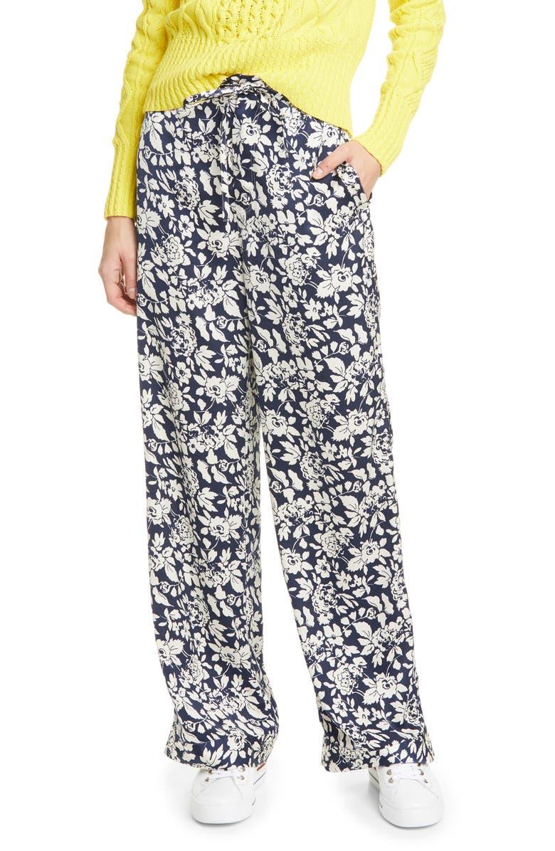 POLO RALPH LAUREN Floral Satin Wide Leg Pants, Main, color, NAVY FLORAL
