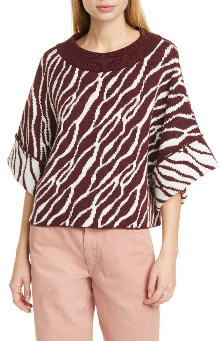 RODEBJER Nouhaila Stripe Jacquard Merino Wool Sweater, Main, color, WILD SAFFRON