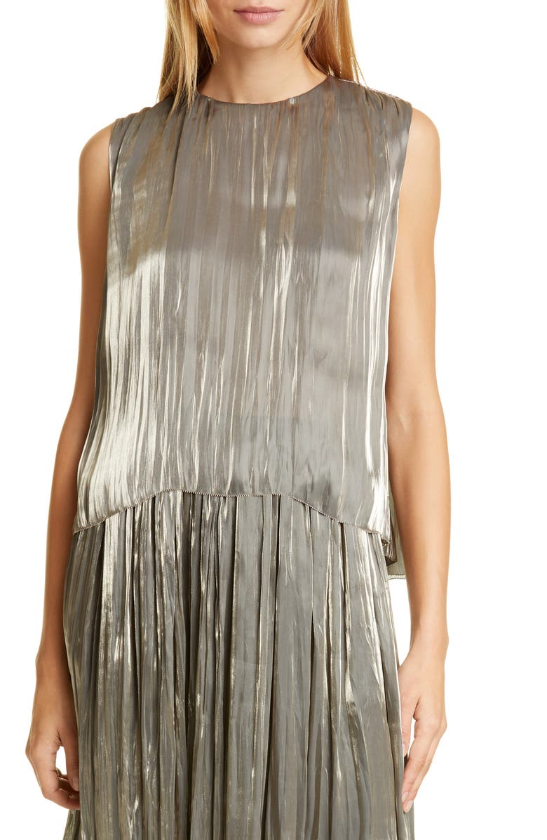 VINCE Iridescent Pleated Tank Top, Main, color, MOONSTONE