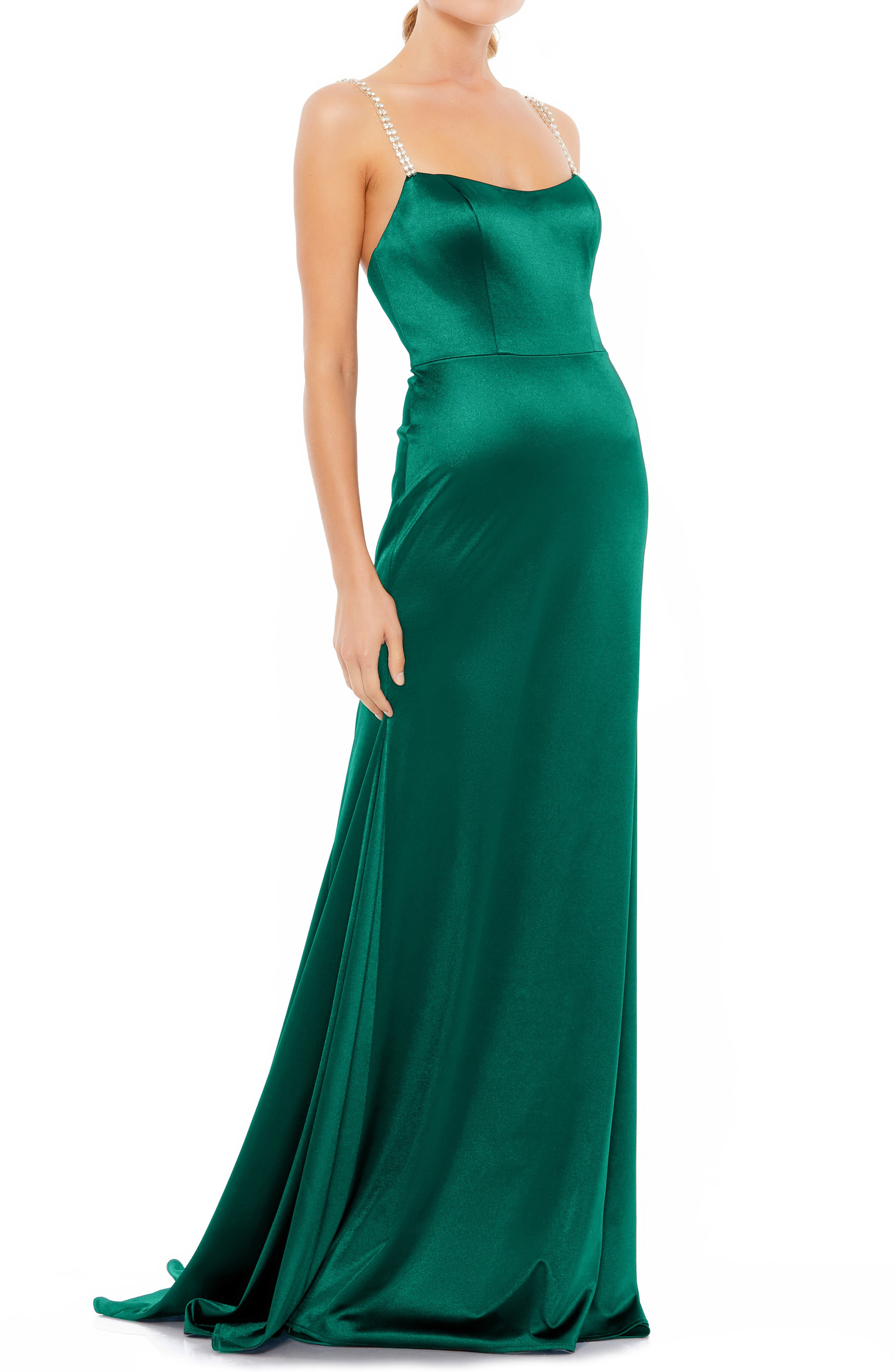Vintage 1930s Formal, Party Dresses History Womens MAC Duggal Square Neck Sheath Gown Size 12 - Green $398.00 AT vintagedancer.com