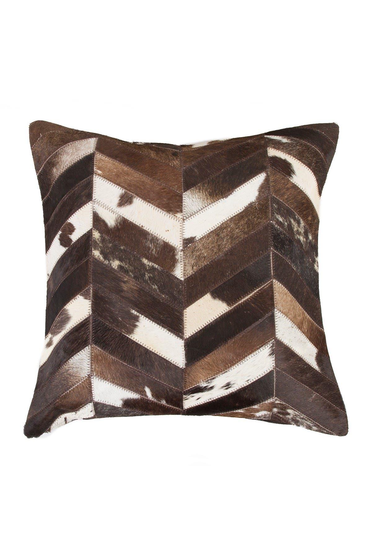 "Image of Natural Torino Chevron Genuine Cowhide Pillow - 18""x18"" - Chocolate/Natural"