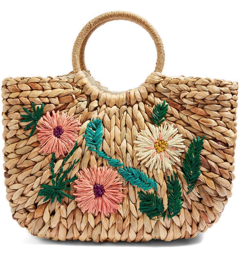 TOPSHOP Beverly Floral Embroidered Straw Tote Bag, Main, color, 250