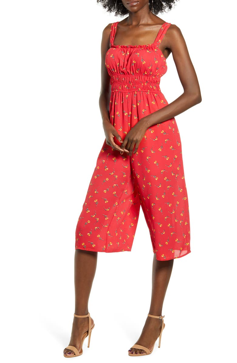 ROW A Floral Smocked Waist Jumpsuit, Main, color, RED