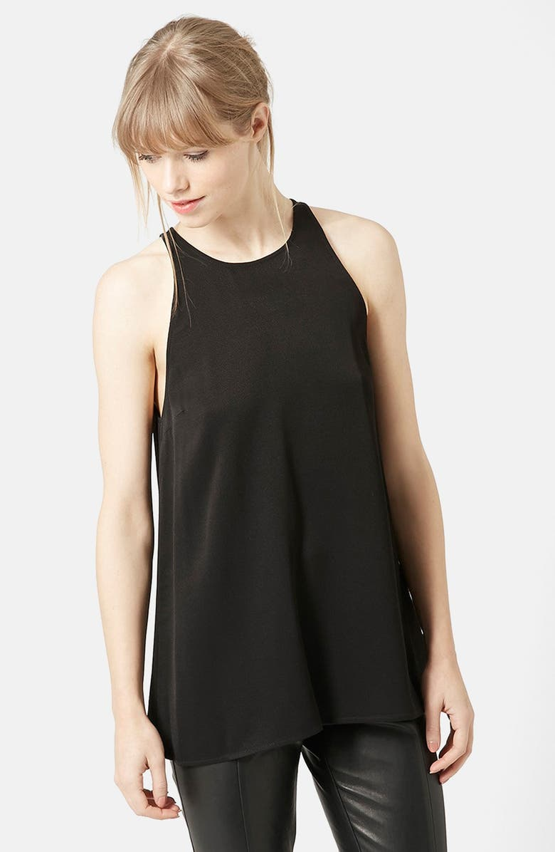 TOPSHOP 'Milo' Split Back Sleeveless Top, Main, color, 001