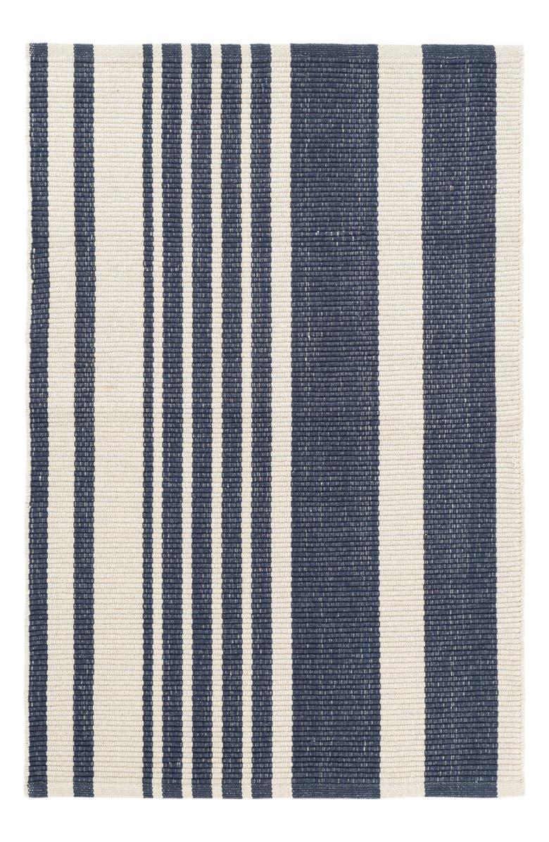 DASH & ALBERT Portland Stripe Woven Cotton Rug, Main, color, BLUE