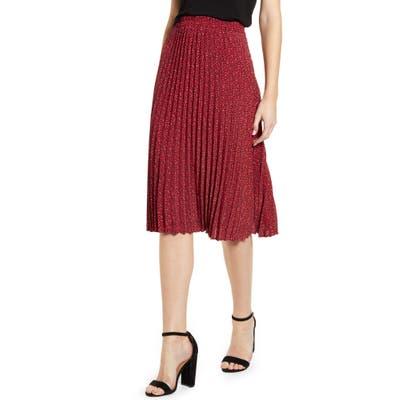 Gibson Print Pleated Midi Skirt, Red