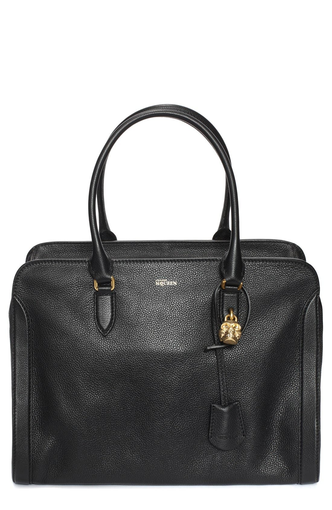 'Padlock' Calfskin Leather Duffel Bag, Main, color, 001