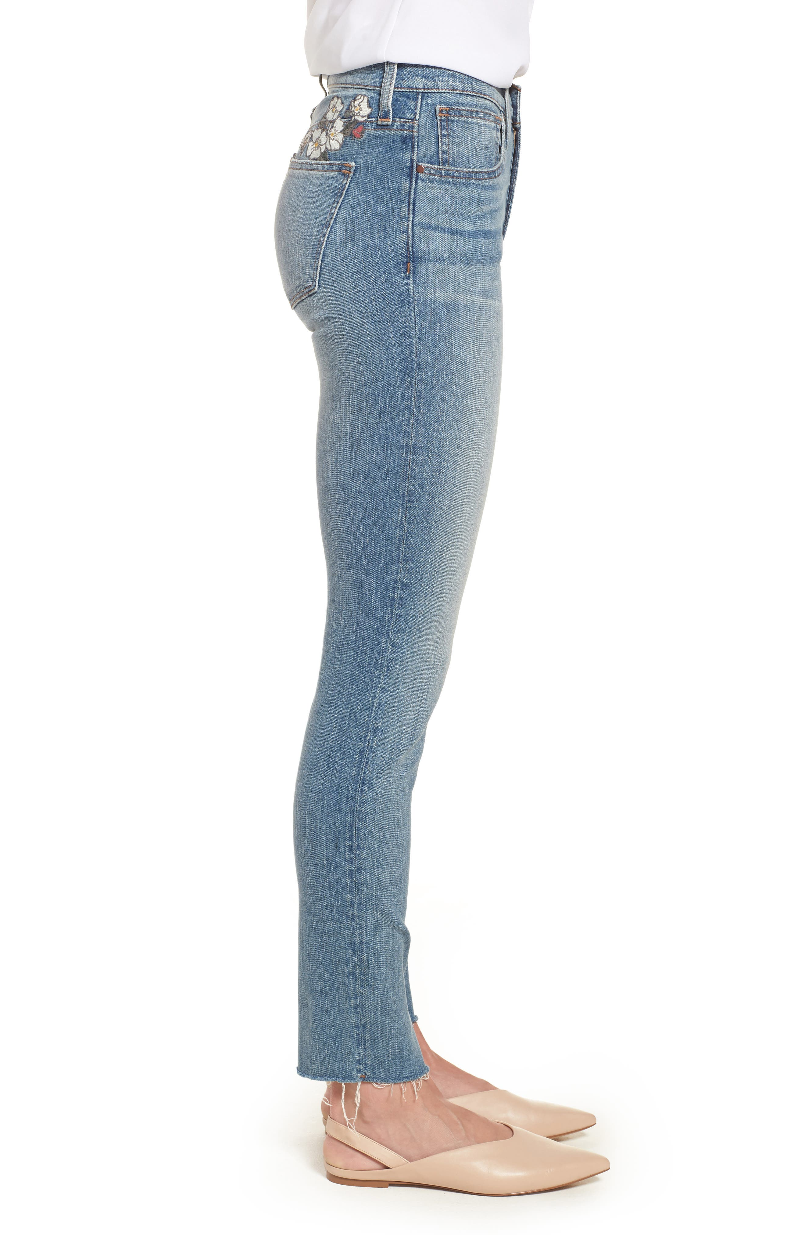 ,                             Sage High Waist Embroidered Slim Straight Leg Jeans,                             Alternate thumbnail 4, color,                             450