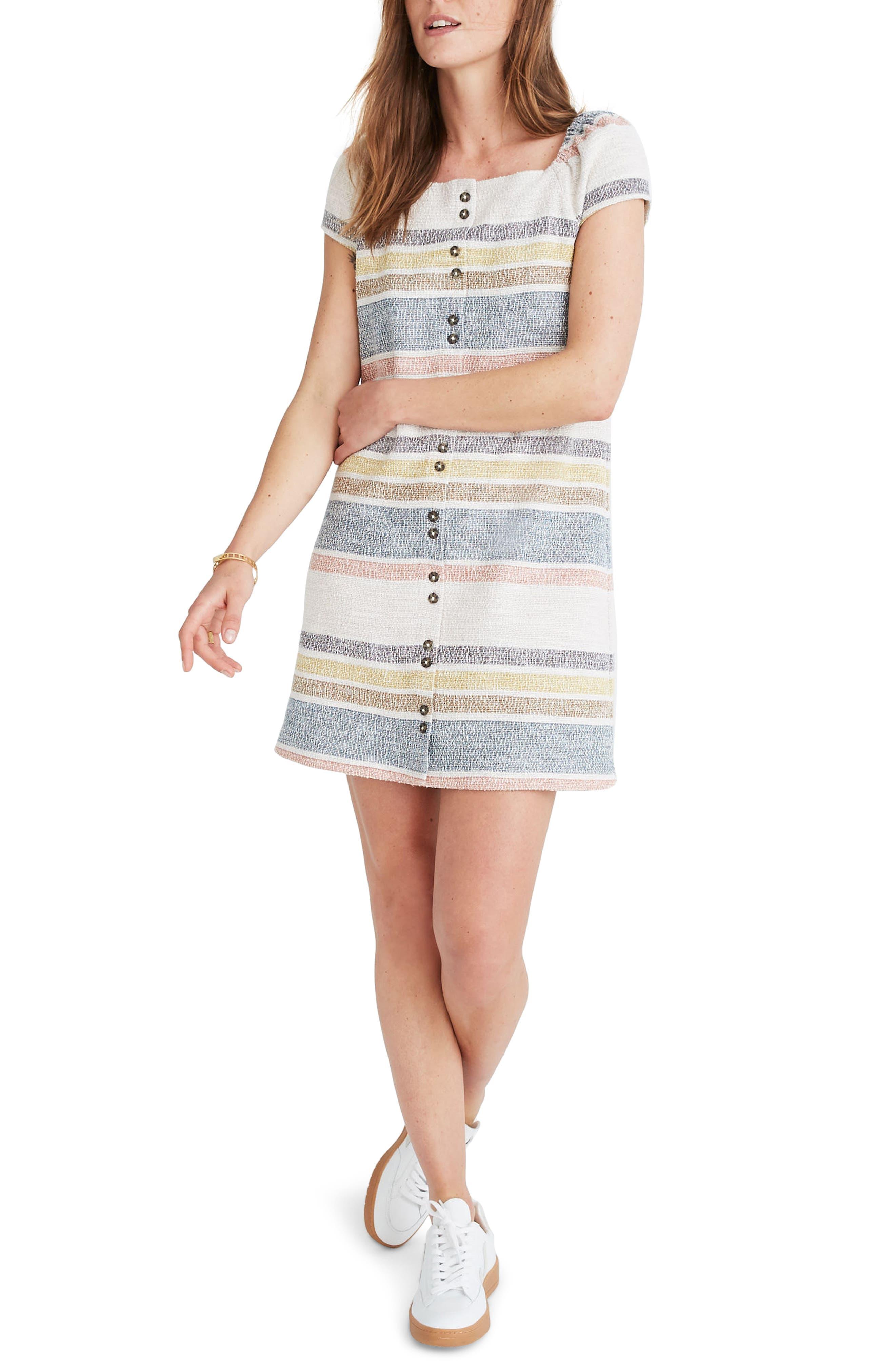 Madewell Texture & Thread Stripe Cap Sleeve Dress, Beige