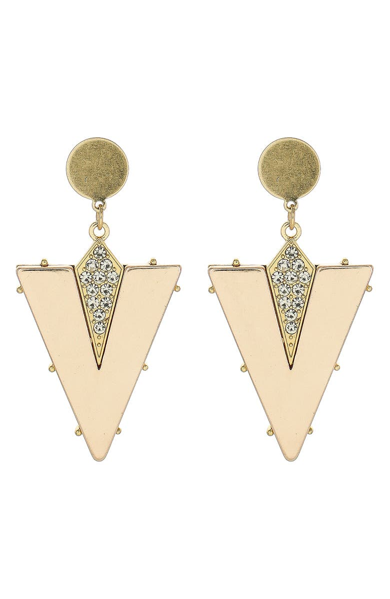 PANACEA Triangle Drop Earrings, Main, color, GOLD