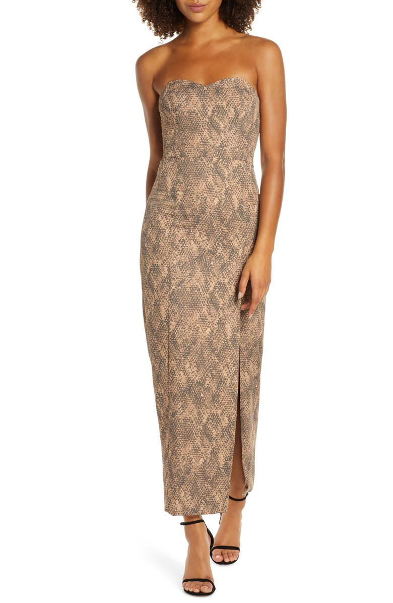 FAME AND PARTNERS The Martina Strapless Dress, Main, color, SERPENTINE DARK NUDE