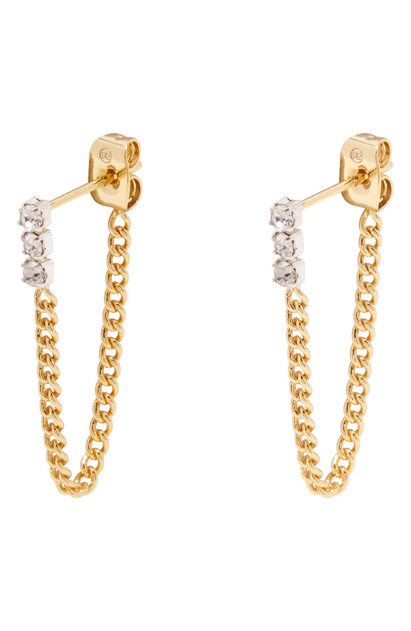 Wilder Shimmer Chain Huggie Hoop Earrings
