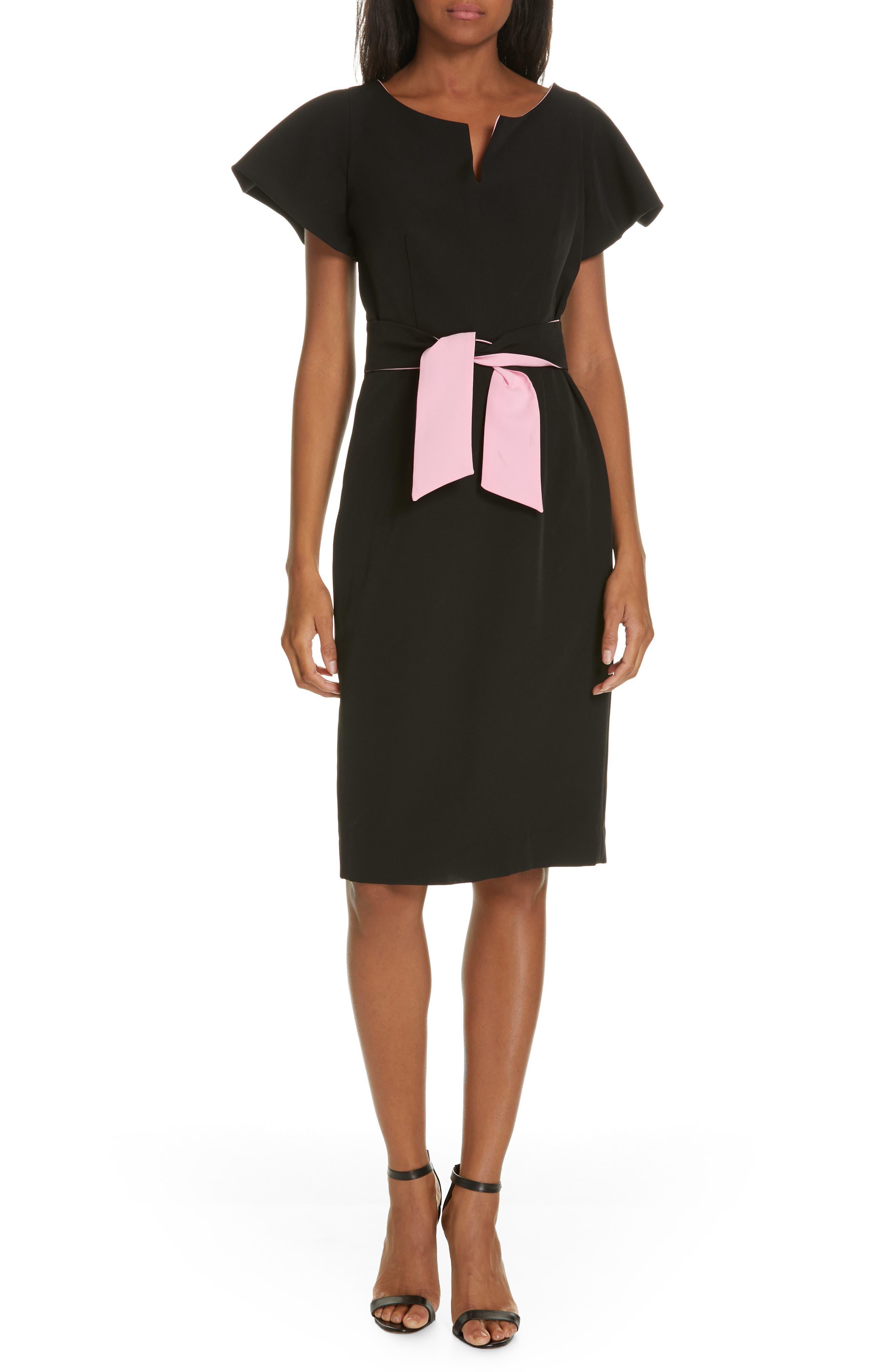 ,                             Tina Italian Cady Belted Dress,                             Main thumbnail 1, color,                             001