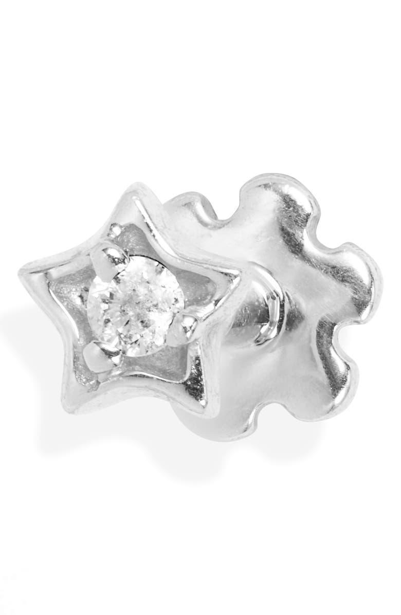MARIA TASH Diamond Solitaire Star Threaded Stud Earring, Main, color, WHITE GOLD/ DIAMOND