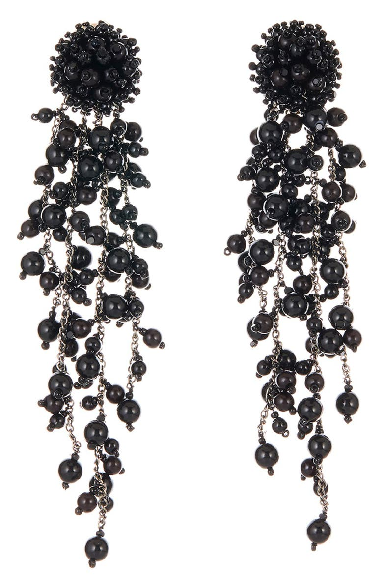 OSCAR DE LA RENTA Flower Chain Shoulder Duster Clip Earrings, Main, color, 001