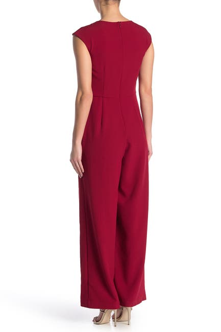 Image of Donna Ricco Pleated Neck Jumpsuit