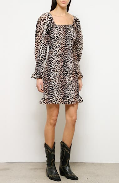 Leopard Print Long Sleeve Cotton & Silk Minidress, video thumbnail