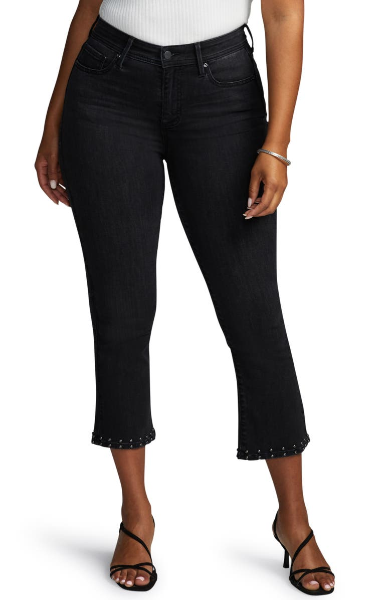 CURVES 360 BY NYDJ Shape Studded Kick Flare Crop Jeans, Main, color, 003