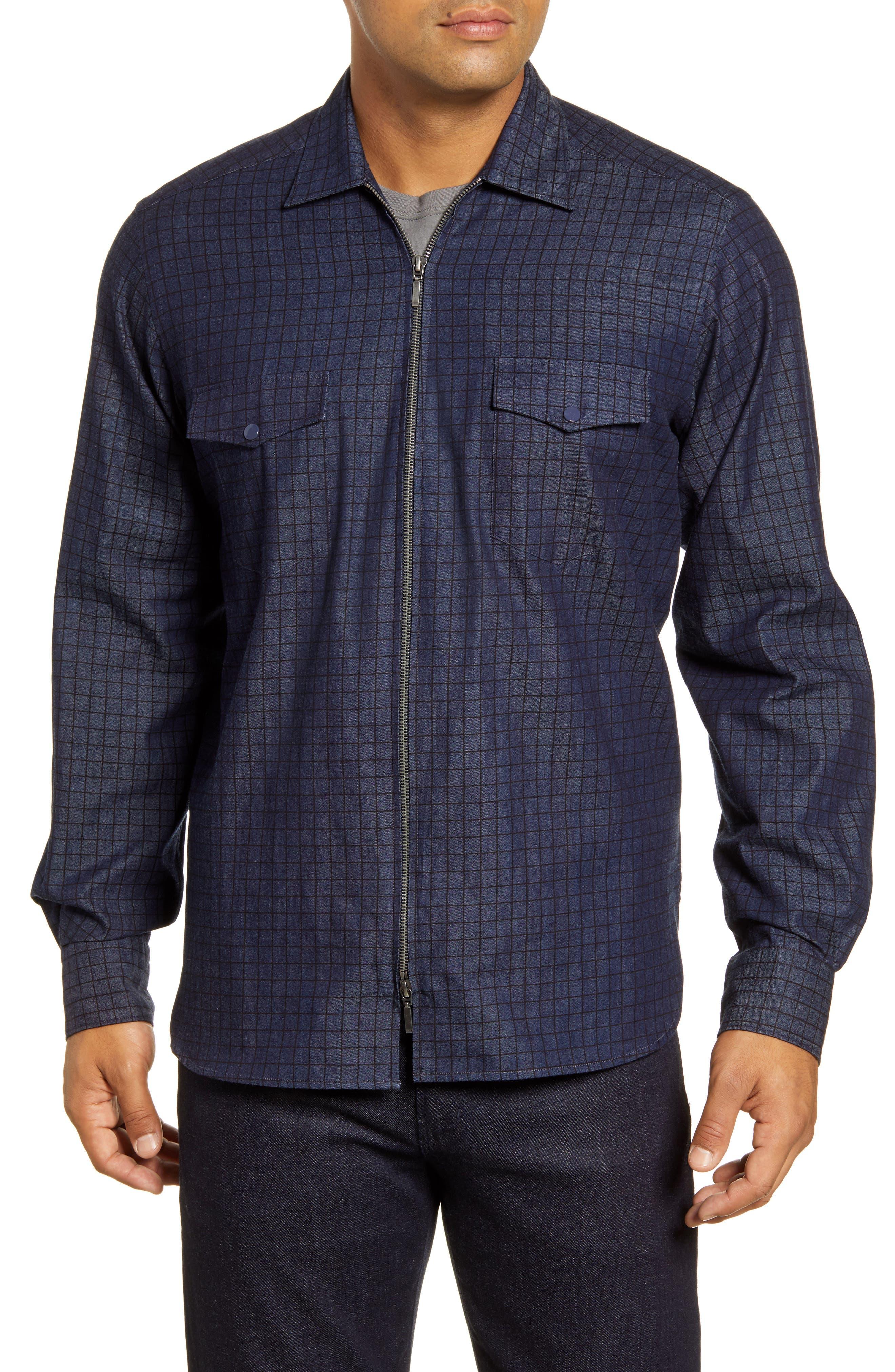 men's bugatchi classic fig windowpane zip-up denim shirt jacket
