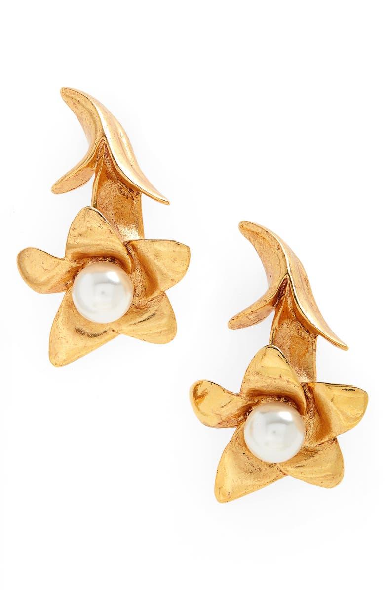OSCAR DE LA RENTA Imitation Pearl Flower Drop Earrings, Main, color, 710