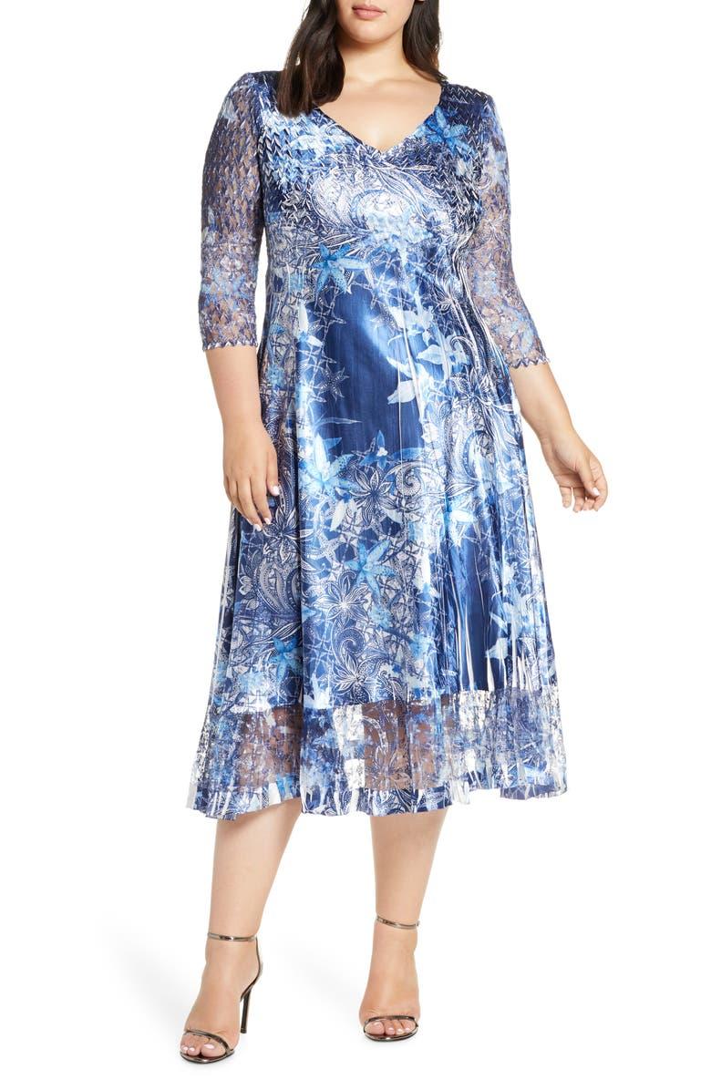 Komarov Floral Print Charmeuse Tea Length Dress (Plus Size ...