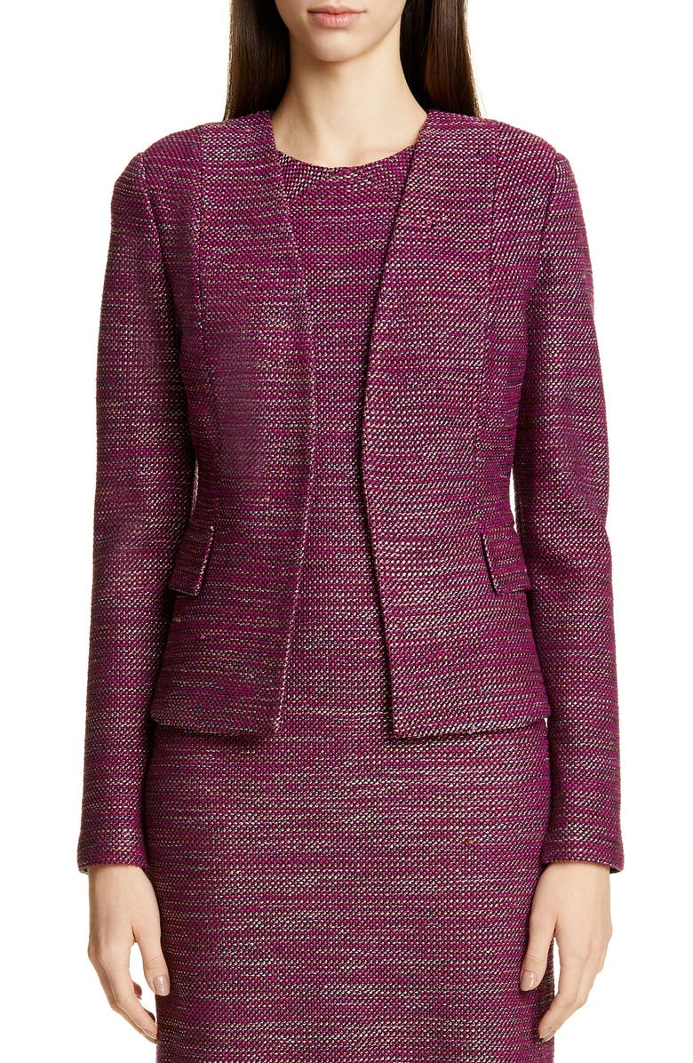 ST. JOHN COLLECTION Ombré Ribbon Tweed Knit Jacket, Main, color, RIPE BERRY MULTI