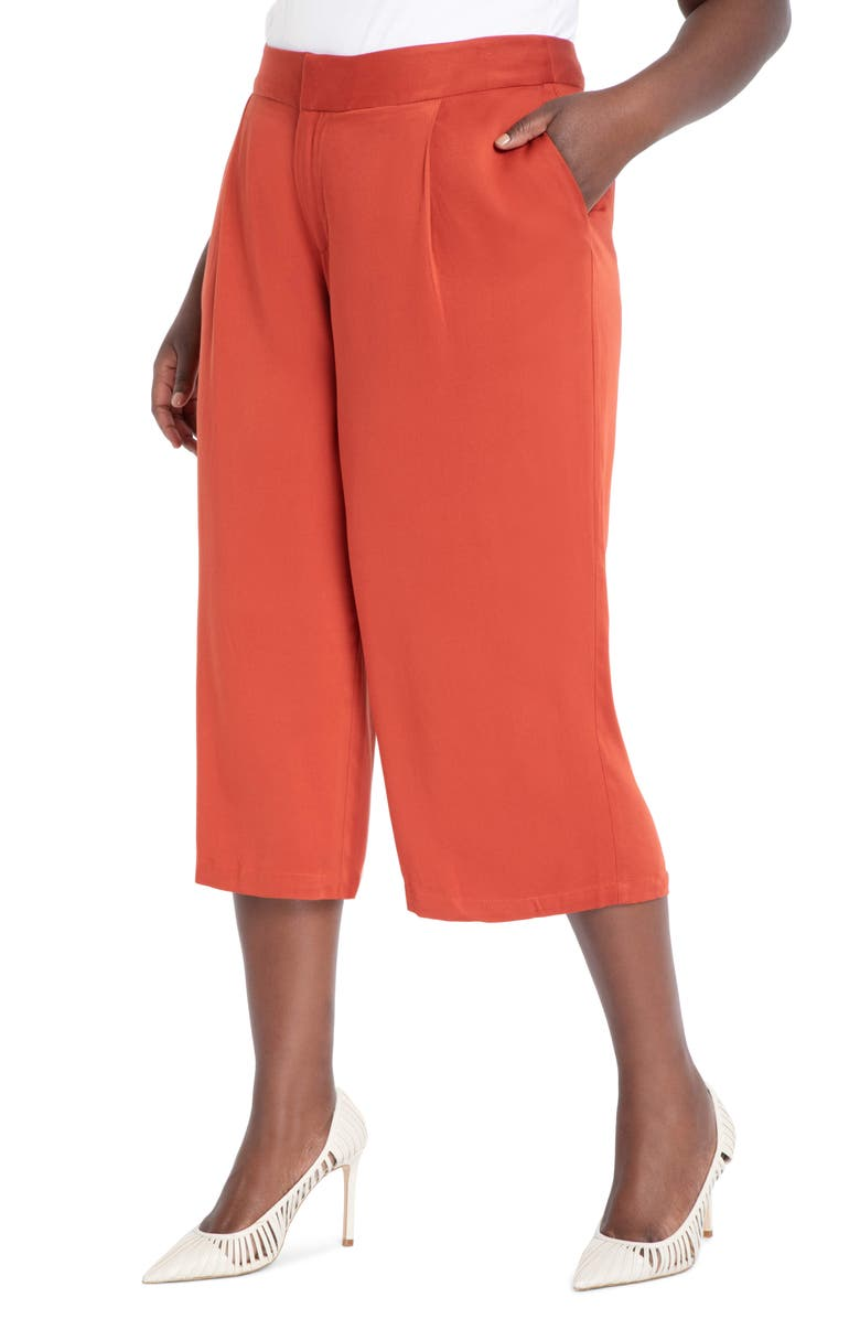 ELOQUII High Waist Crop Trousers, Main, color, MINERAL RED