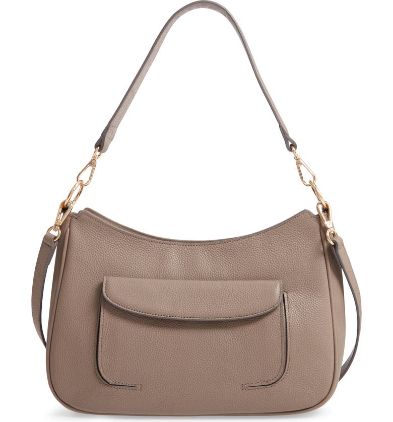 NORDSTROM Finn Leather Hobo Bag, Main, color, GREY TAUPE