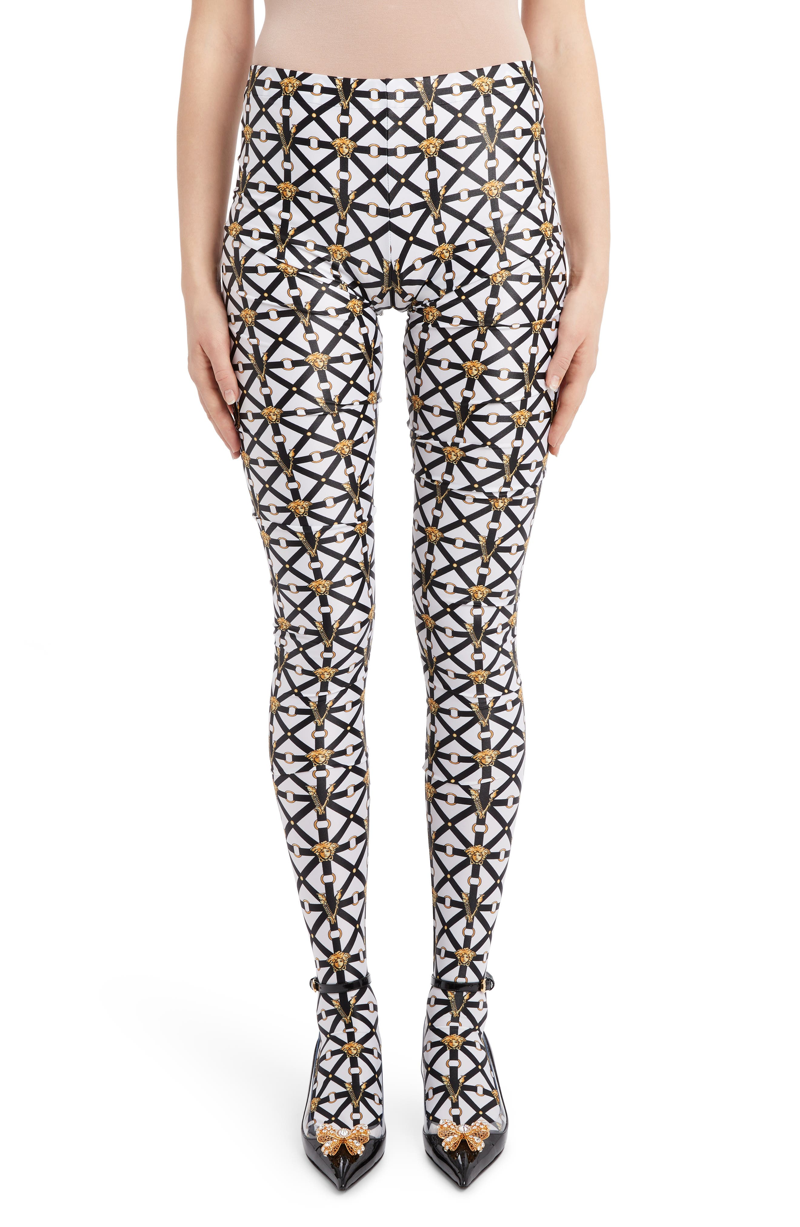 Versace Knits Harness Print Footed Leggings