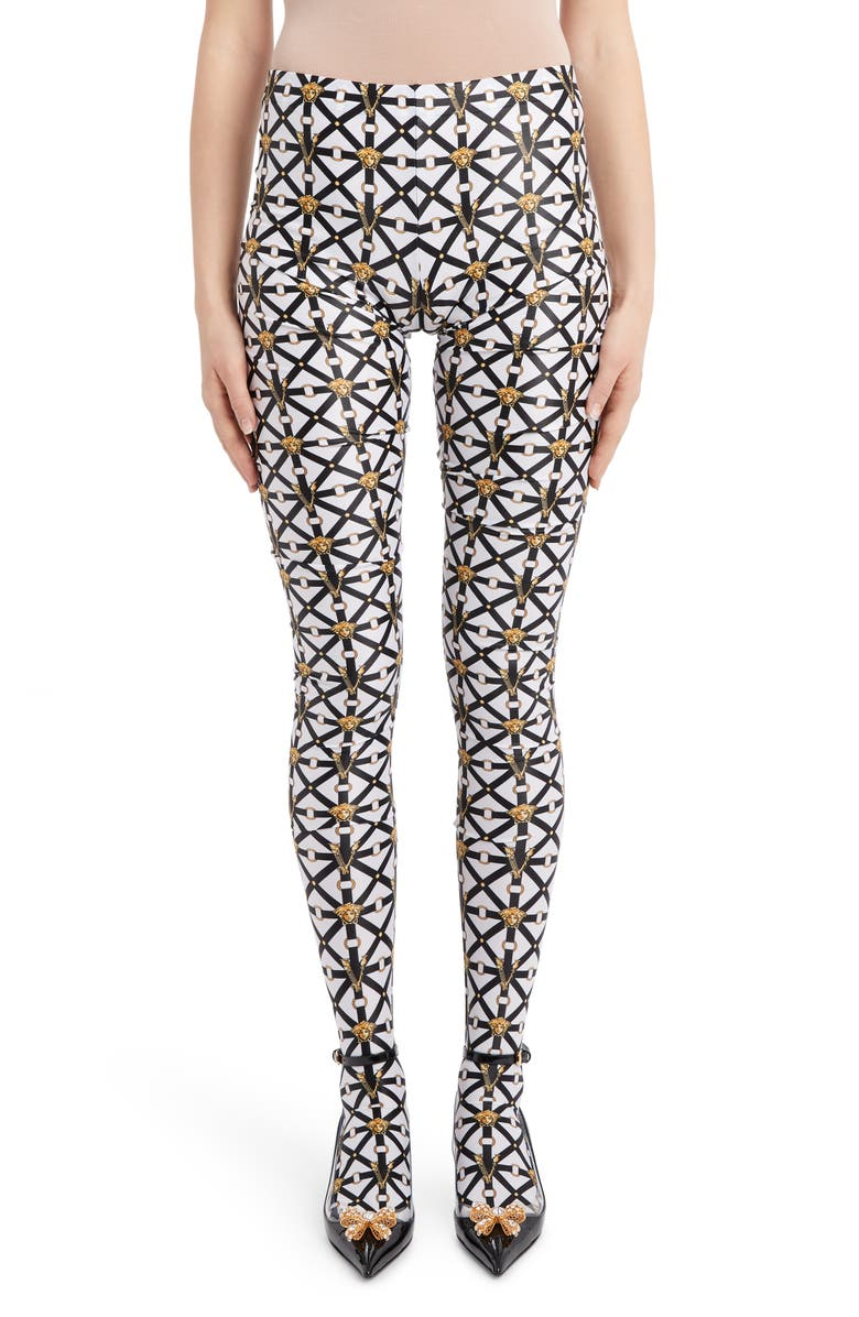 VERSACE Harness Print Footed Leggings, Main, color, BLACK WHITE