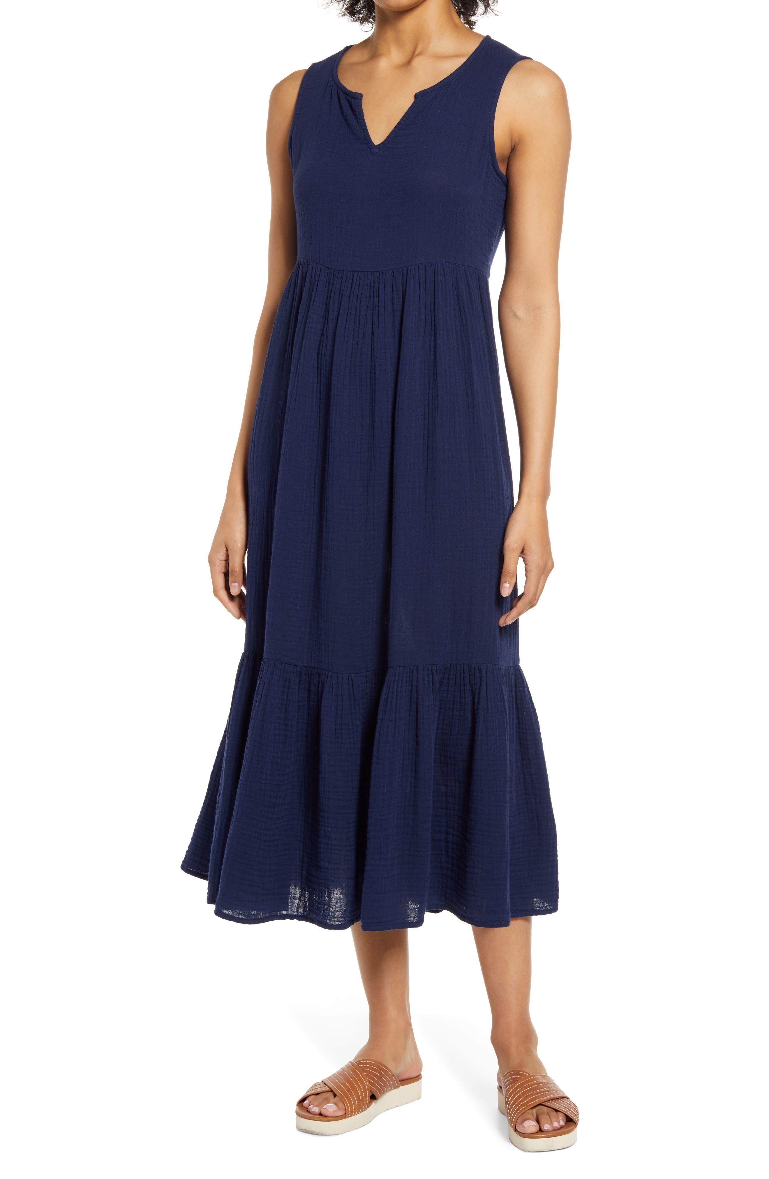 Reana Sleeveless Cotton Double Cloth Midi Dress
