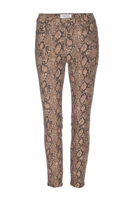 Image of FRAME Le High Waisted Coated Snakeskin Print Skinny Jeans