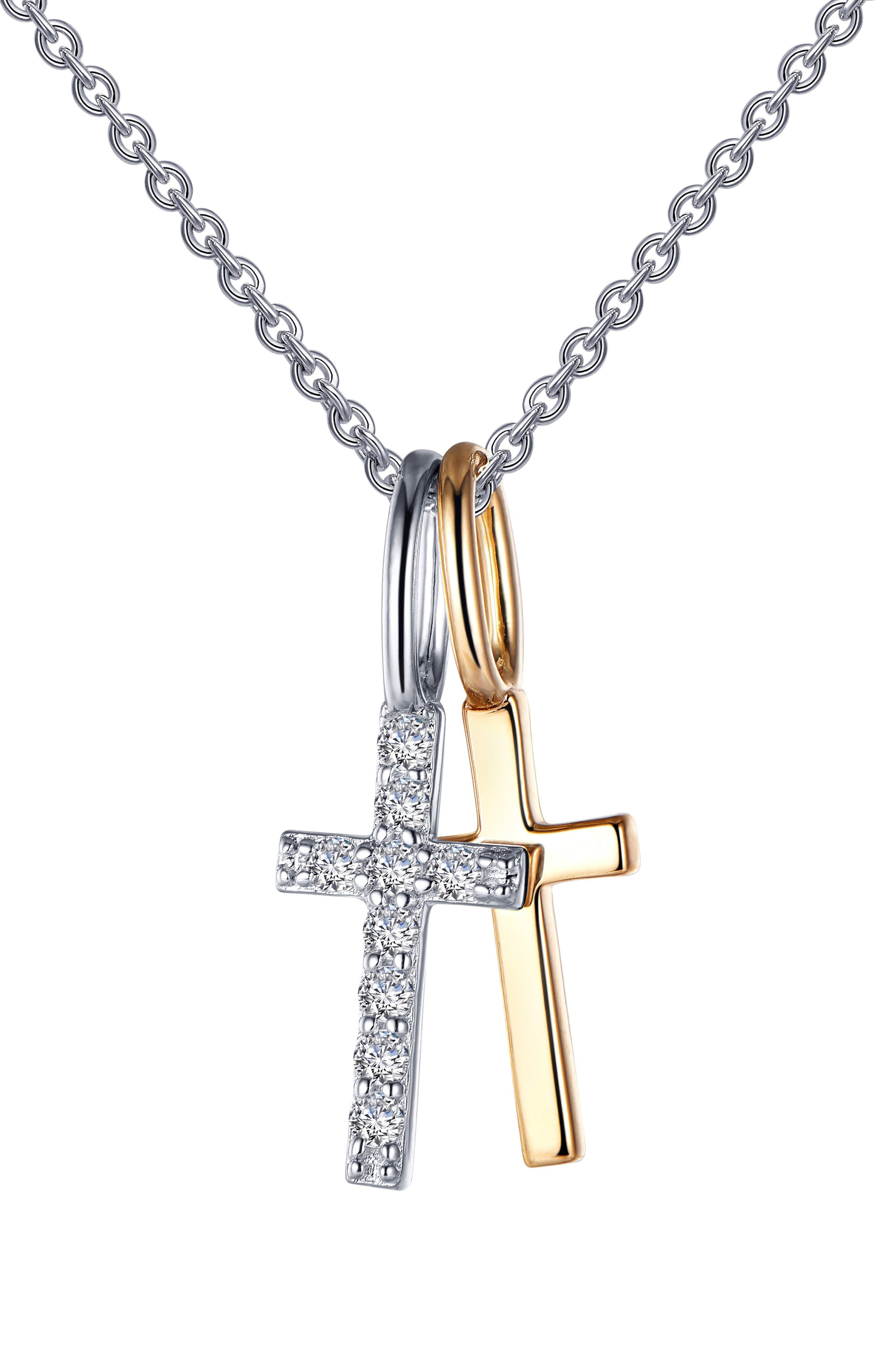 Two Cross Pendant Necklace