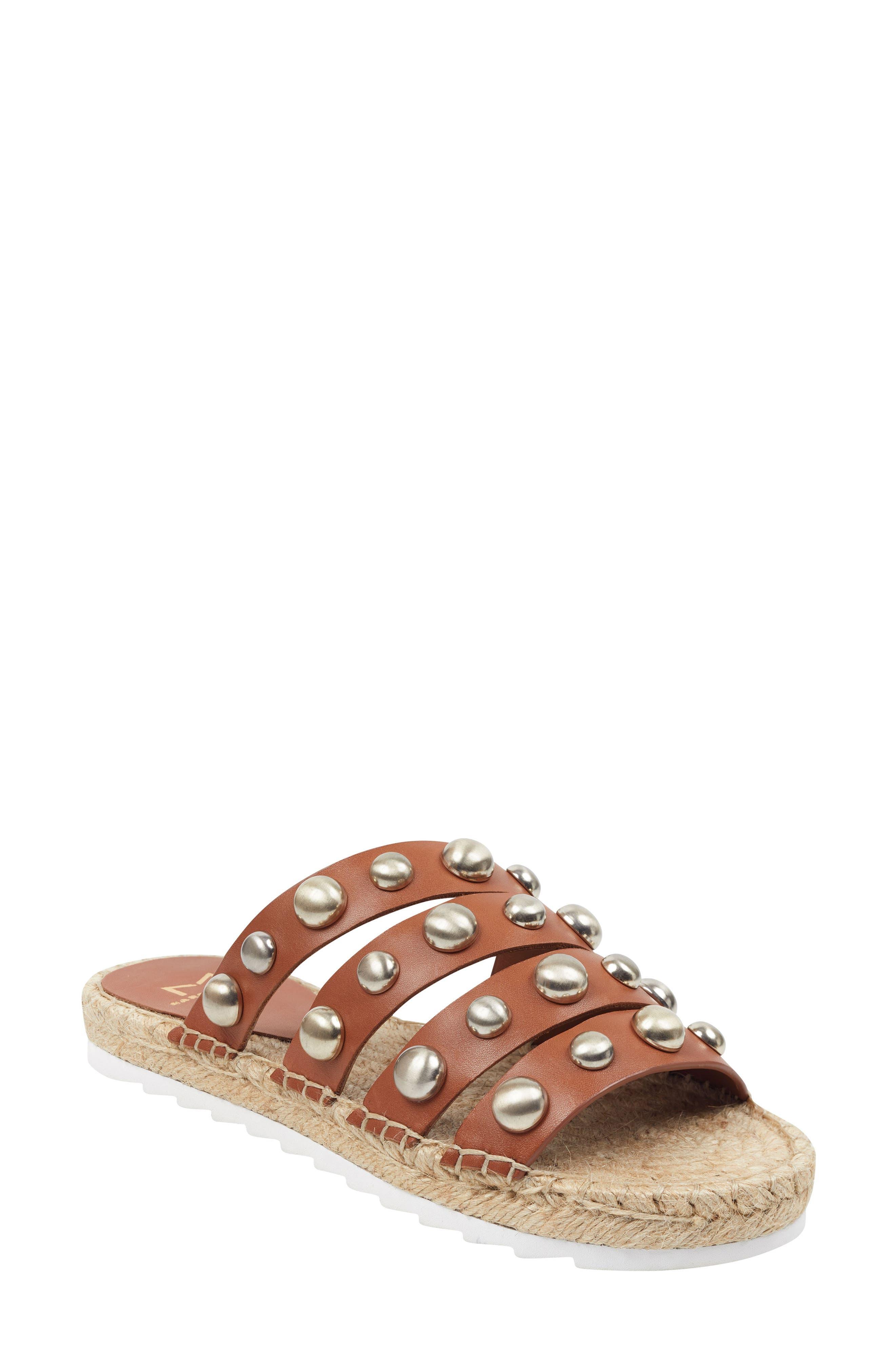 Marc Fisher Ltd Brandie Strappy Studded Slide Sandal, Brown