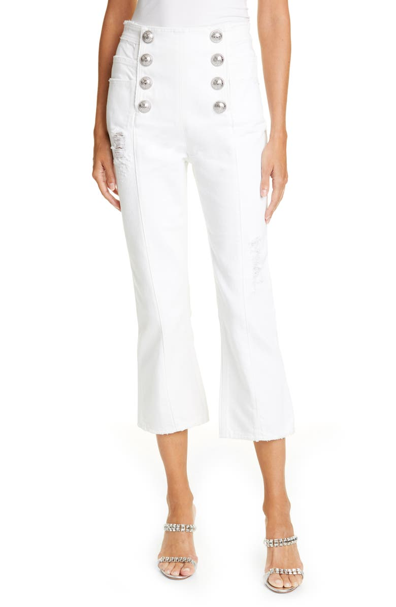 BALMAIN Button Front Crop Flare Jeans, Main, color, 100