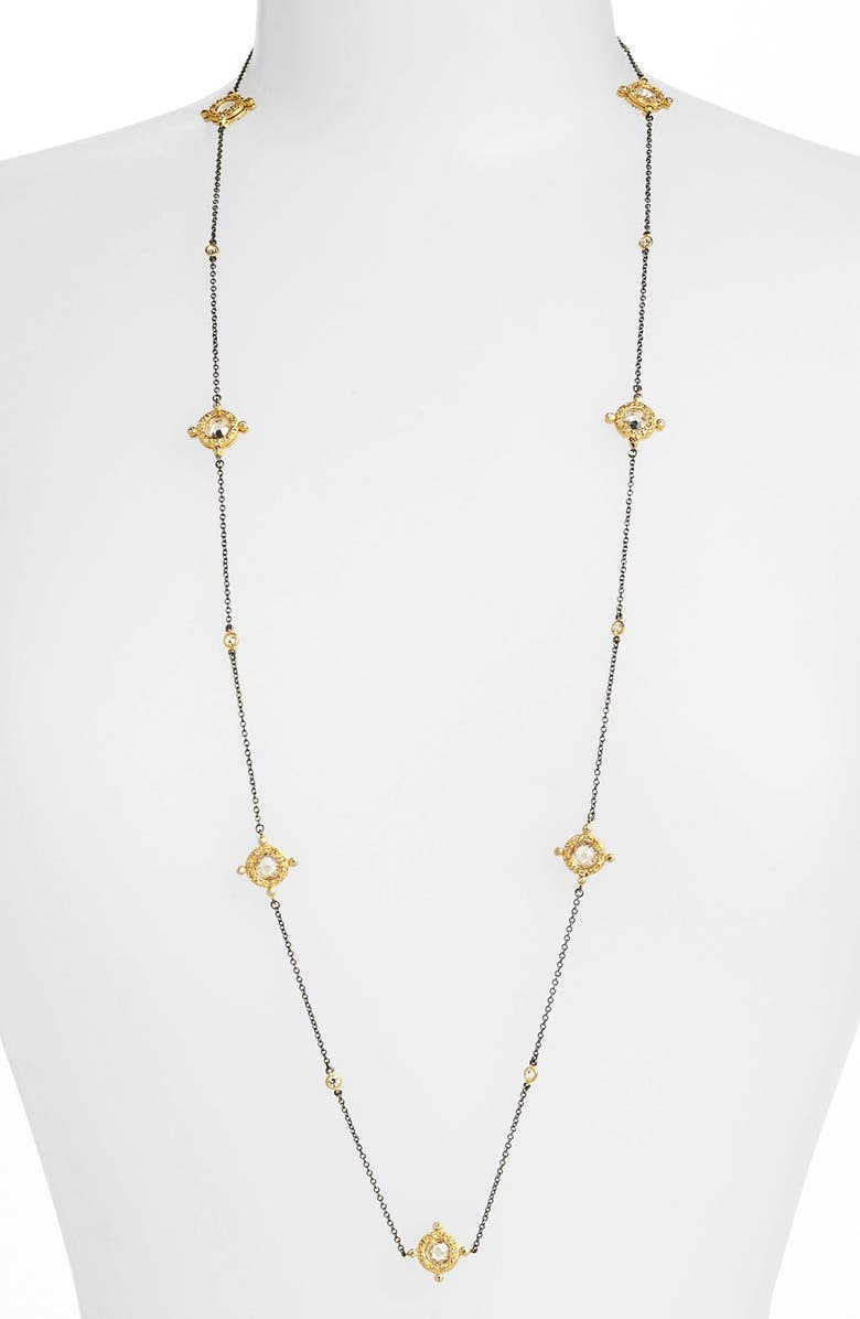 FREIDA ROTHMAN Long Station Necklace, Main, color, GUNMETAL/ GOLD