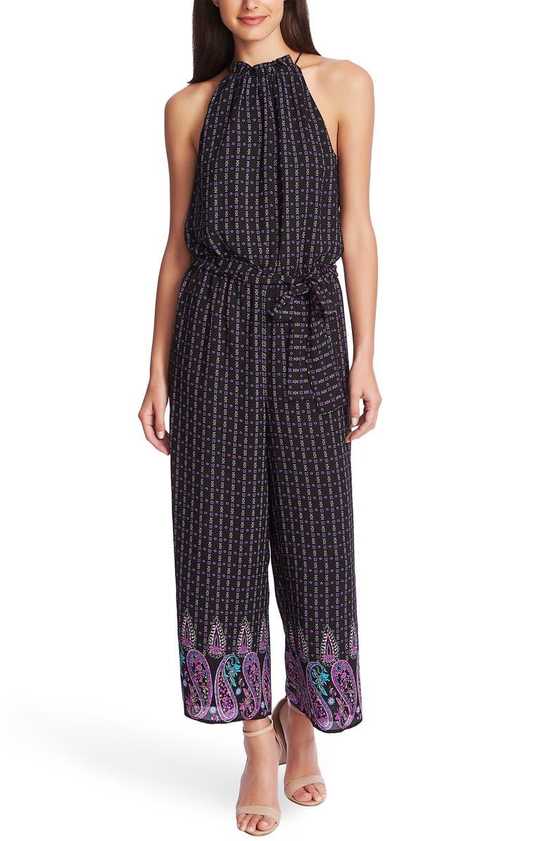 CECE Mosaic Paisley Jumpsuit, Main, color, RICH BLACK