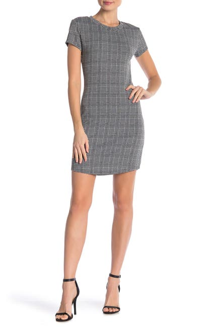 Image of Cloth By Design Houndstooth Plaid T-Shirt Dress