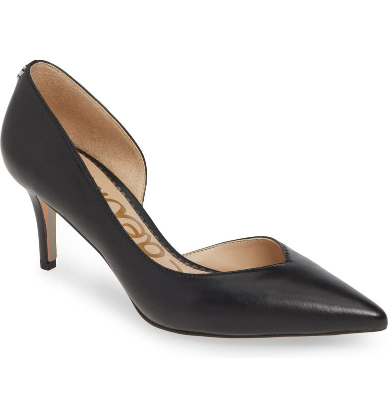 SAM EDELMAN Jari Half d'Orsay Pump, Main, color, BLACK LEATHER