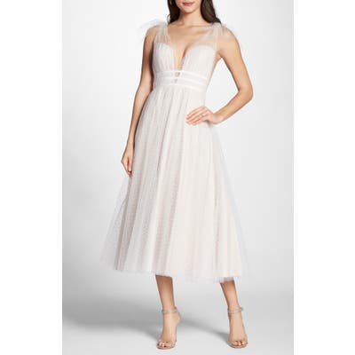 By Watters Swiss Dot Tulle Tea Length Wedding Dress, Ivory
