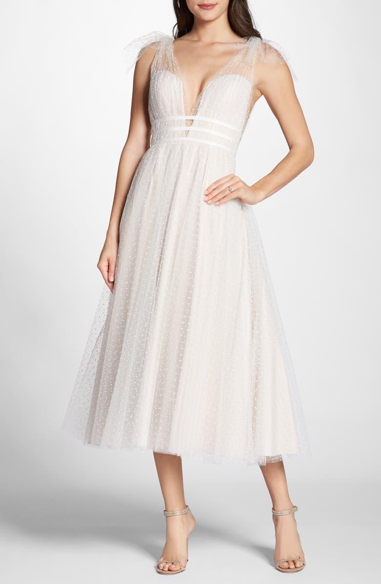 Swiss Dot Tulle Tea Length Wedding Dress by By Watters
