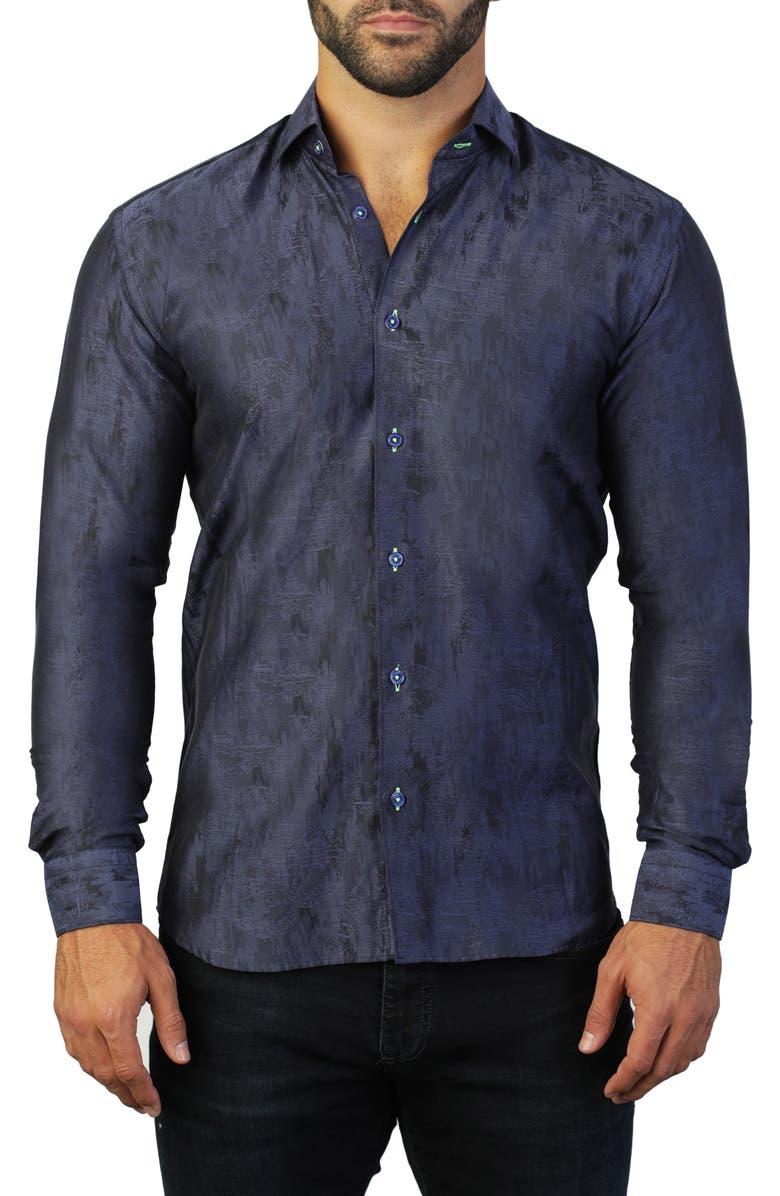 MACEOO Fibonacci Camo Regular Fit Cotton Shirt, Main, color, BLUE