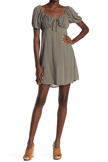 Image of BAILEY BLUE Puff Sleeve Tie Front Dress