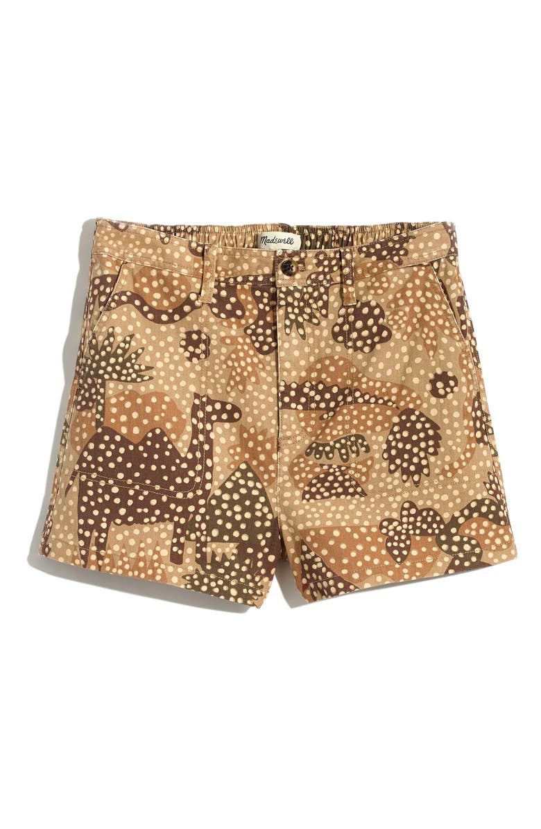 MADEWELL Zoo Review Camp Shorts, Main, color, DOT AT THE ZOO EARTHEN SAND
