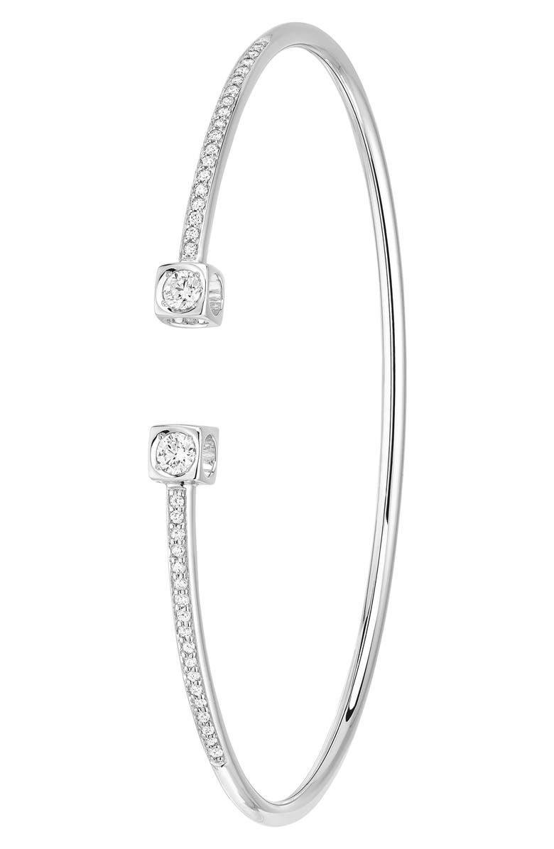 DINH VAN Le Cube Diamant Large 18K Gold Flex Bracelet, Main, color, WHITE GOLD